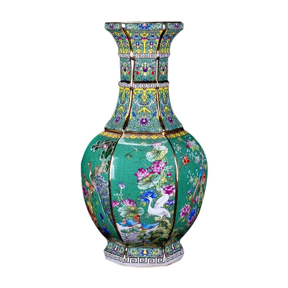 安定したお風呂を持っている広まった花瓶 デコレーションホーム世帯ウェディングリビングルームベッドルームオフィステーブルグリーンのための花瓶セラミッククラシッククリエイティブハイグレード インテリア フラワーベース (Size : M (19 x 34 cm))