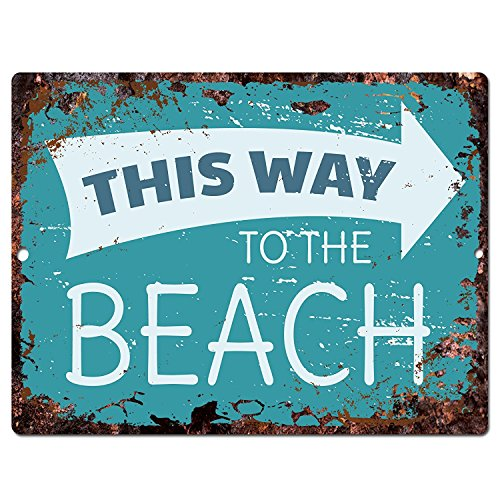 "This Way To The Beach Tropical Sign Rustic Vintage Retro Kitchen Bar Pub Wall Decor 9""x12"" Metal Plate Sign Home Store Decor Plaques"