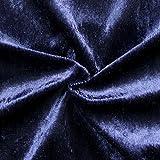 STOFFKONTOR Pannesamt Stoff Meterware Nachtblau