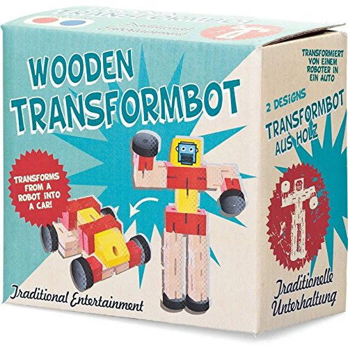 Unbekannt Wooden Transformbot - Transforms from Robot to car - Assorted Colours and Design (Selected at Random on despatch)