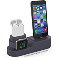 haStyle 3 in 1 Charging Stand Dock Silicone Compatible with AirPods, iWatch and iPhone Xs/Xs...
