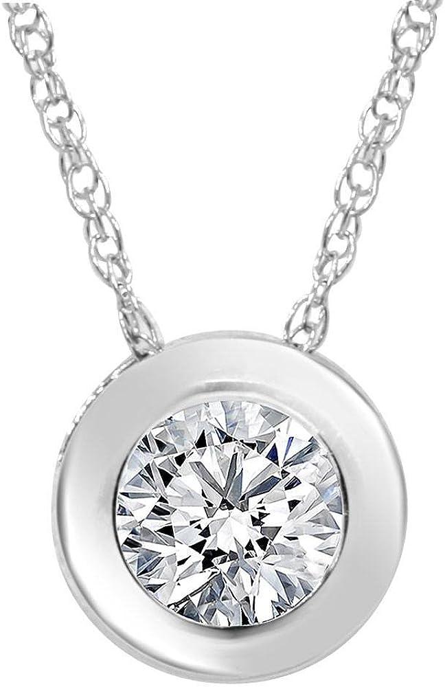 Max Max 45% OFF 53% OFF 1 2ct Solitaire Bezel Diamond Pendant Gold White 14K
