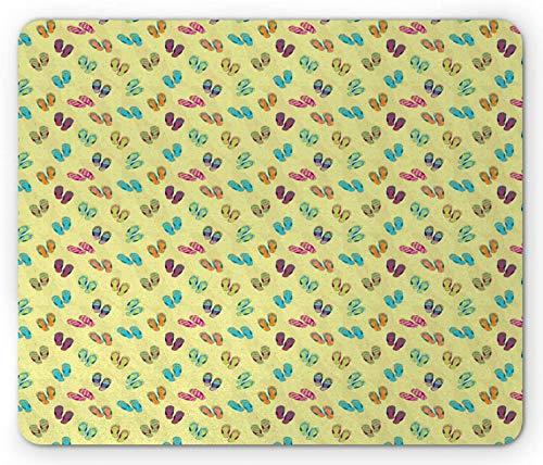 Alfombrilla para ratón con Chanclas, Zapatillas de Colores en la Playa de Arena con Varios Patrones de Lunares y Flores, Alfombrilla Rectangular de Goma Antideslizante, tamaño estándar,20x25cm