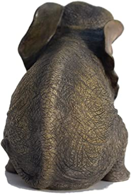 6.13 inch Sitting Baby Elephant Decorative Figurine Bronze Color