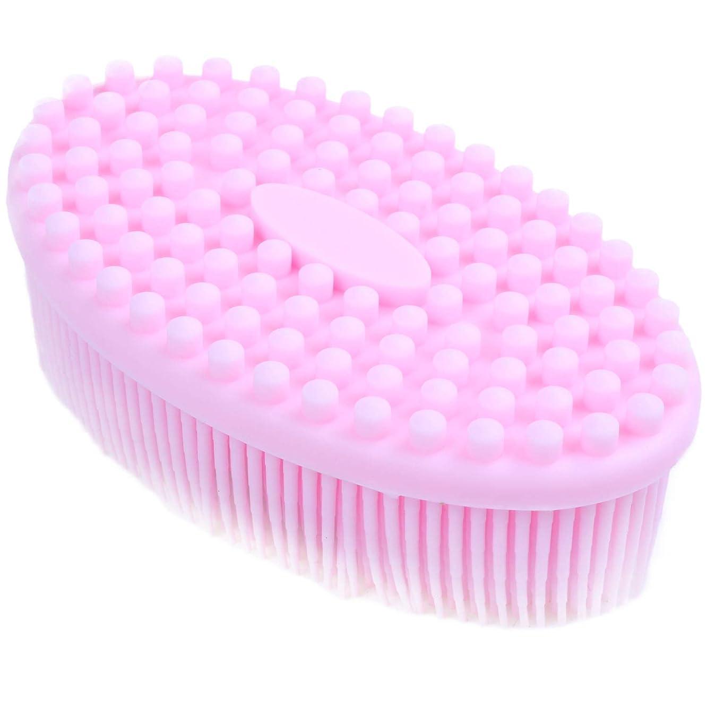 柔らかい足涙が出る大通りRETYLY バス&シャワーヘチマブラシ2 in 1フェイス&ボディスクラブジェントルボディブラシスキン100%より良いスクラバーシリコーンボディブラシお風呂用マッサージブラシ
