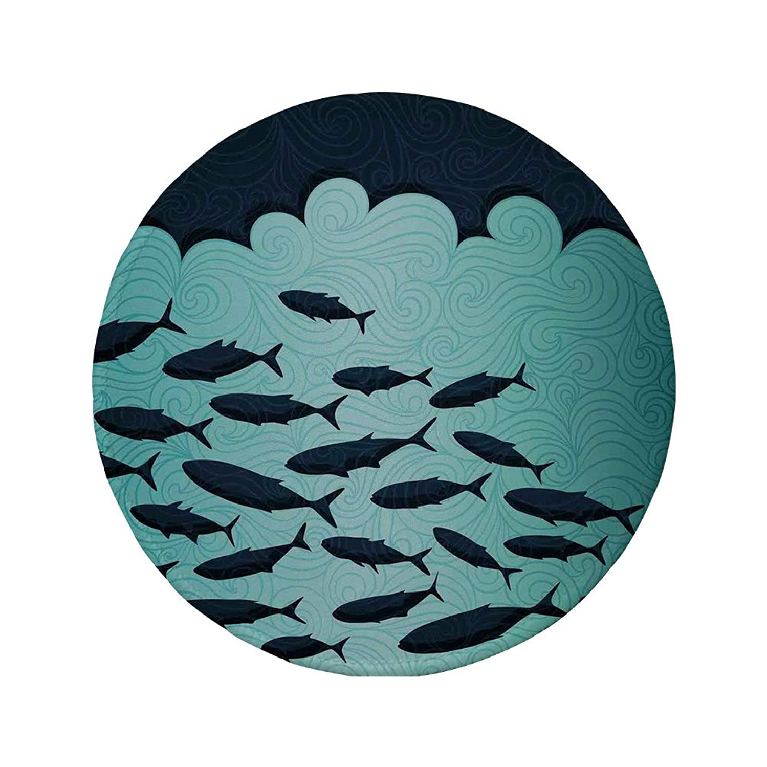 Non-Slip Rubber Round Mouse Pad,Ocean Animal Decor,Surreal Graphic Ornate Swirl Waves and Group of Fish Nautical Theme,Blue Turquoise,11.8