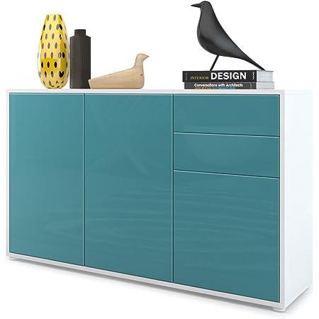 Vladon Commode Buffet Ben V3, Corps en Blanc Mat/Façades en Turquoise Haute Brillance
