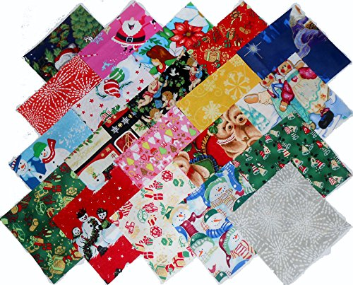 20 10' Layer Cake Christmas Medley Quilt Fabric Squares- 20 Different - 1 of Each