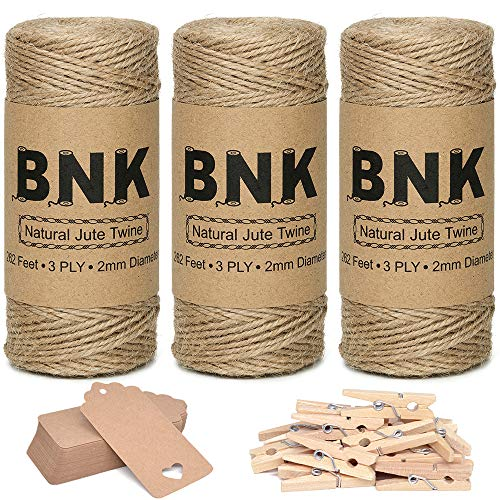BNK 787 Feet Natural Jute Twine for Gift Wrapping String Kit with Kraft Paper Gift Tags, Wooden Clips, for Arts Crafts DIY Plants Gardening Christmas Ribbon Twine Durable Packing String