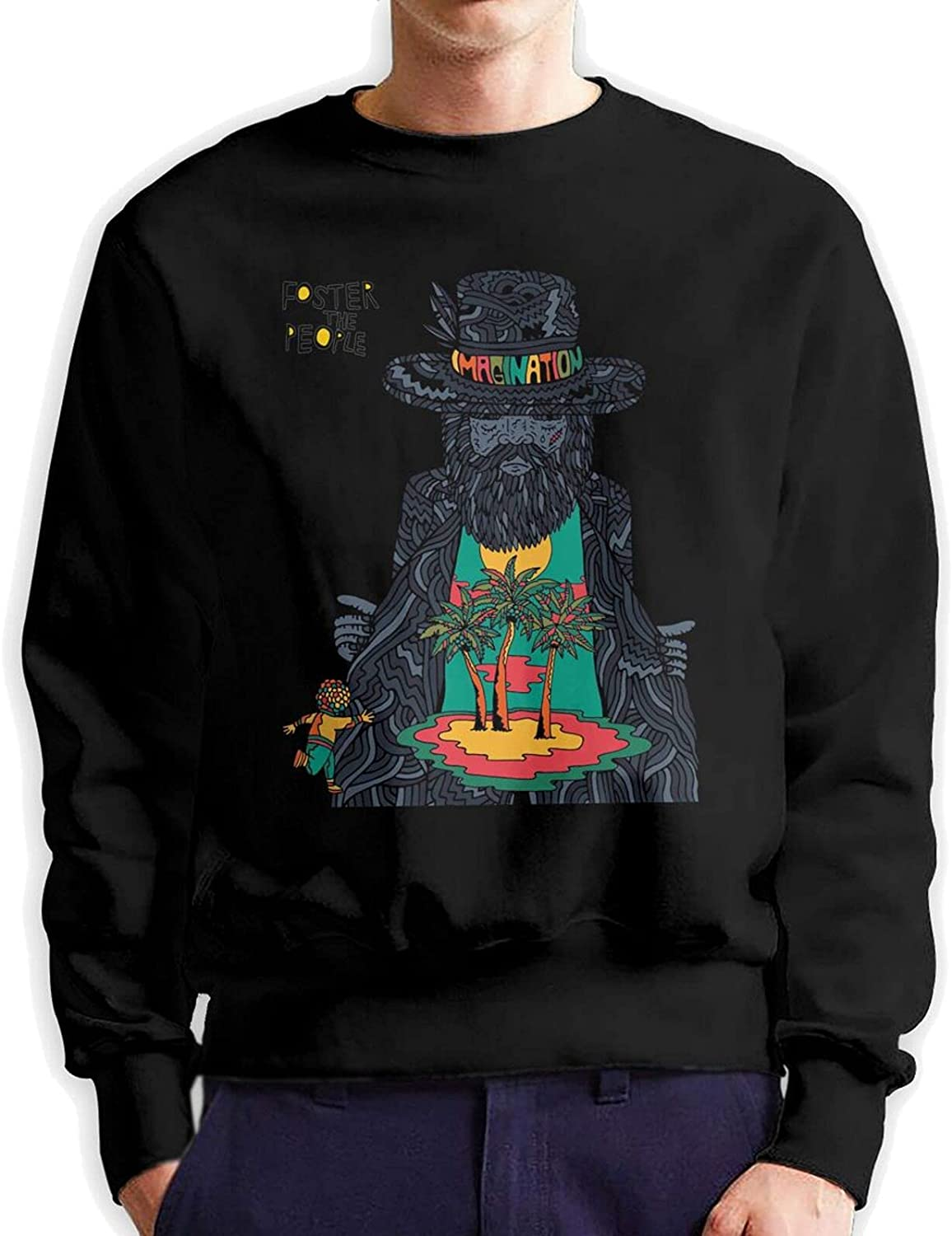 Foster The People Men'S Long Sleeve Printed Sports Shirt Cotton Black