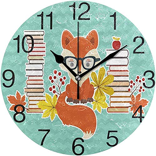 L.Fenn Smart Fox in glas-design ronde wandklok, stille non-ticking olieverf decoratief voor home kantoor school Clock Art