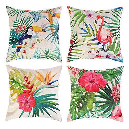 JuneJour Set of 4/6 Throw Cushion Cover Tropical Pillow Cases Decorative Polyester Linen Square Single-sided Printing Pillow Covers for Home Office Sofa Couch Car 45 * 45cm