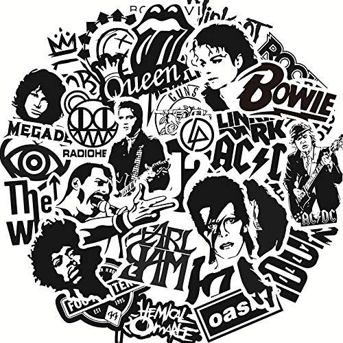 ZNMSB 50 Pegatinas Impermeables en Blanco y Negro de Banda de Rock, Pegatinas Impermeables para Maletas con Ruedas, Pegatinas de Graffiti
