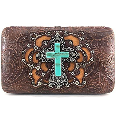 Justin West Western Tooled Turquoise Cross Concho Clutch Flat Wallet (Brown)