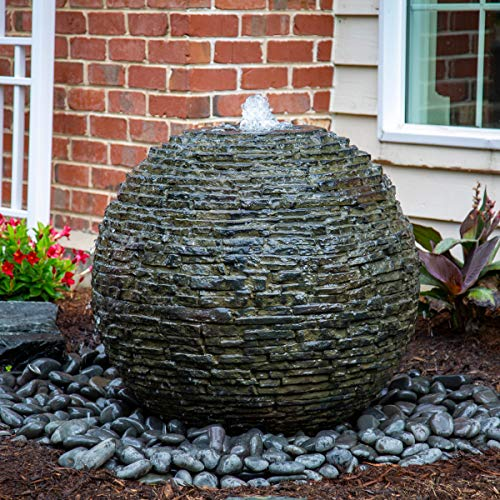 Aquascape Stacked Slate Sphere Water Fountain for Yard, Landscape, and Garden, Small | 78287