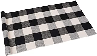 SEEKSEE 100% Cotton Plaid Rugs Black/White Checkered Plaid Rug Hand-Woven Buffalo Checkered Doormat Washable Porch Kitchen Area Rugs (24
