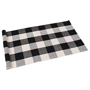 SEEKSEE 100% Cotton Plaid Rugs Black/White Checkered Plaid Rug Hand-Woven Buffalo Checkered Doormat Washable Porch Kitchen Area Rugs (24 ×51 )