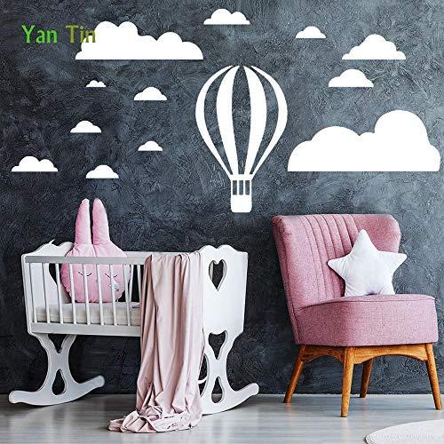 PMSMT Nueva Caricatura extraíble Globo de Aire Caliente Nubes Pegatina de Pared decoración del hogar habitación de niños póster para Habitaciones de bebé DIY Tallado PVC Arte Mural