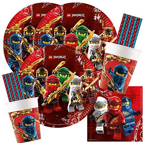 spielum 68-teiliges Party-Set Lego Ninjago - Teller Becher Servietten Papiertrinkhalme für 16 Kinder