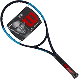 Wilson Ultra 110 Blue/Black Oversized and Extended Tennis Racquet Strung with Custom Colors (Best Racket for Power and Spin)