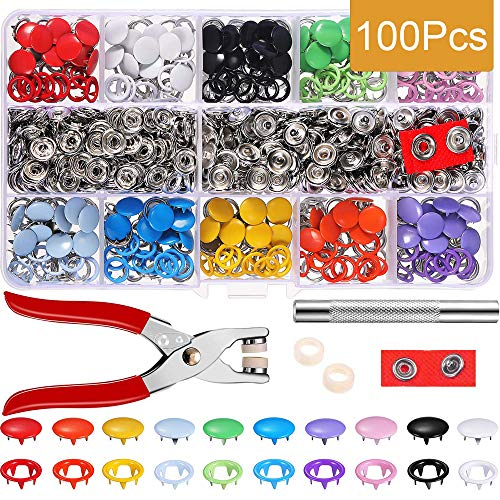 Fasteners Snap Button,100 Set Prong Snap Buttons,Button with Button Pliers,T5 Plastic Snap Buttons,with Storage Box,for DIY Clothing, Sewing Crafts, Clothes Repairs, etc.