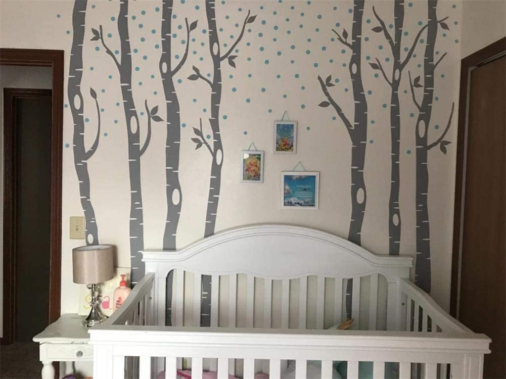 Fymural Forest and Deers Tree Wall Stickers Art Mural Wallpaper for Bedroom Kid Baby Nursery Vinyl Removable DIY Decals 118.1x102.4,White+Black