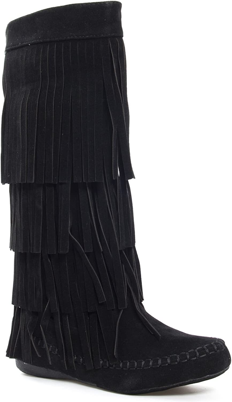 Static Footwear Womens 28-Mudd55 Closed Toe Mid Calf Knee High Mocassin Flat Boot,Black,7.5