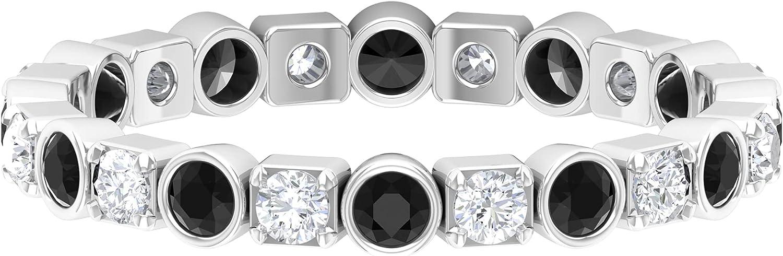 3/4 CT Black Onyx and Diamond Eternity Band Ring (AAA Quality),14K White Gold,Diamond,Size:US 11.50