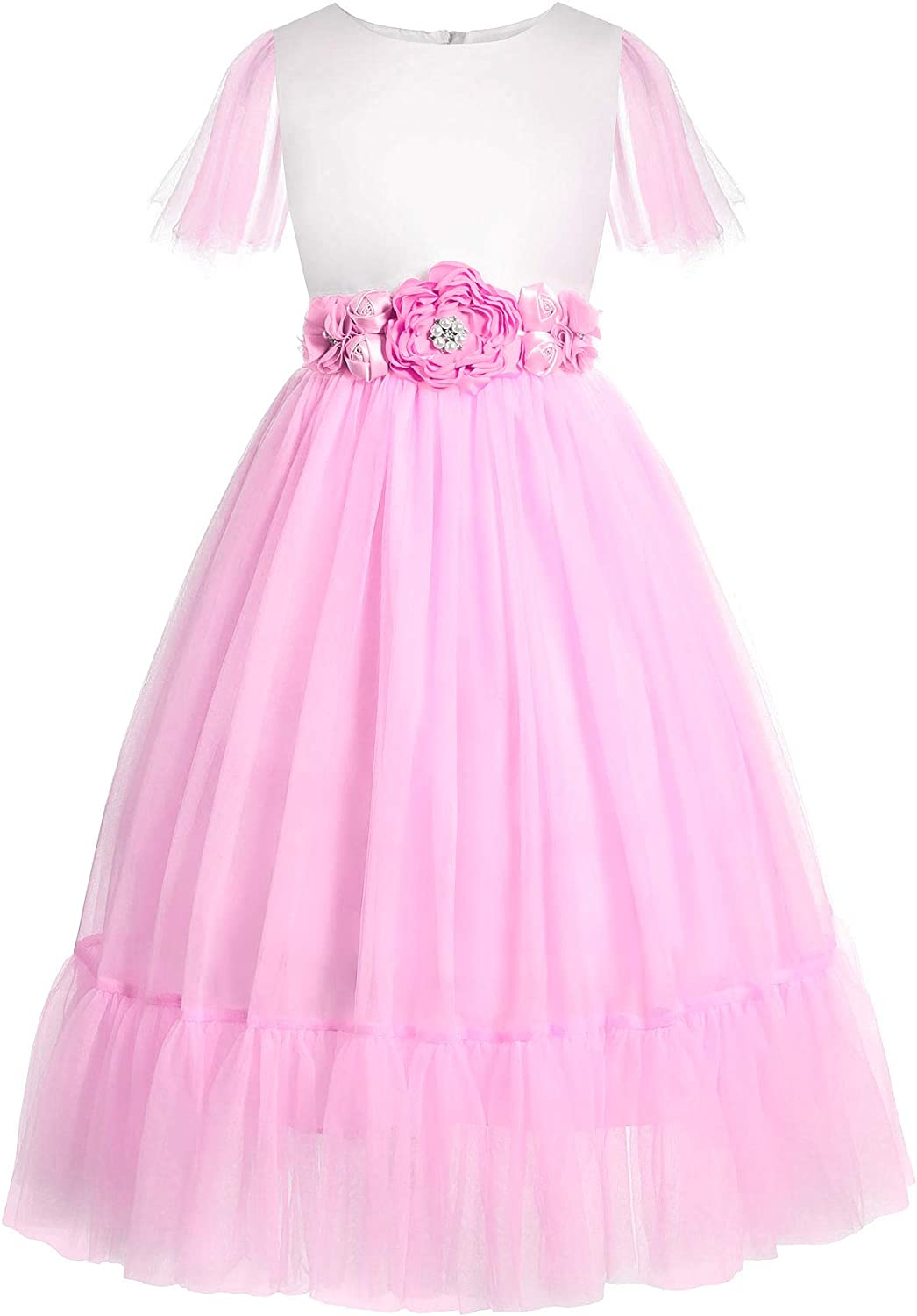 ReliBeauty Wedding Flower Girl Dress Baby A-Line Layered Tulle Tutu