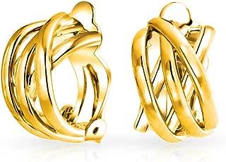 Shrimp Style Criss Cross Knot Weave Half Hoop Clip On Earrings For Women Non Pierced Ears More Colors