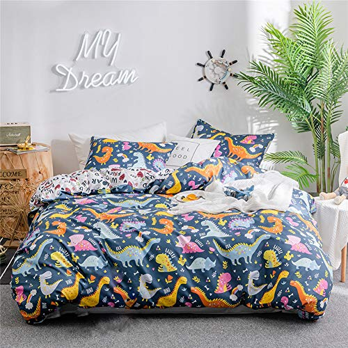 RORA Duvet Cover Set Dinosaur Pattern Blue Reversible Kids Boys 3 Pieces Bedding, 2 Envelope Pillowcases and 1 Duvet Cover (Dinosaur, Queen)