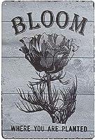 あなたが植えられている場所に咲く花 ヴィンテージスタイル メタルサイン アイアン 絵画 屋内 & 屋外 ホーム バー コーヒー キッチン 壁の装飾 8 × 12 インチ