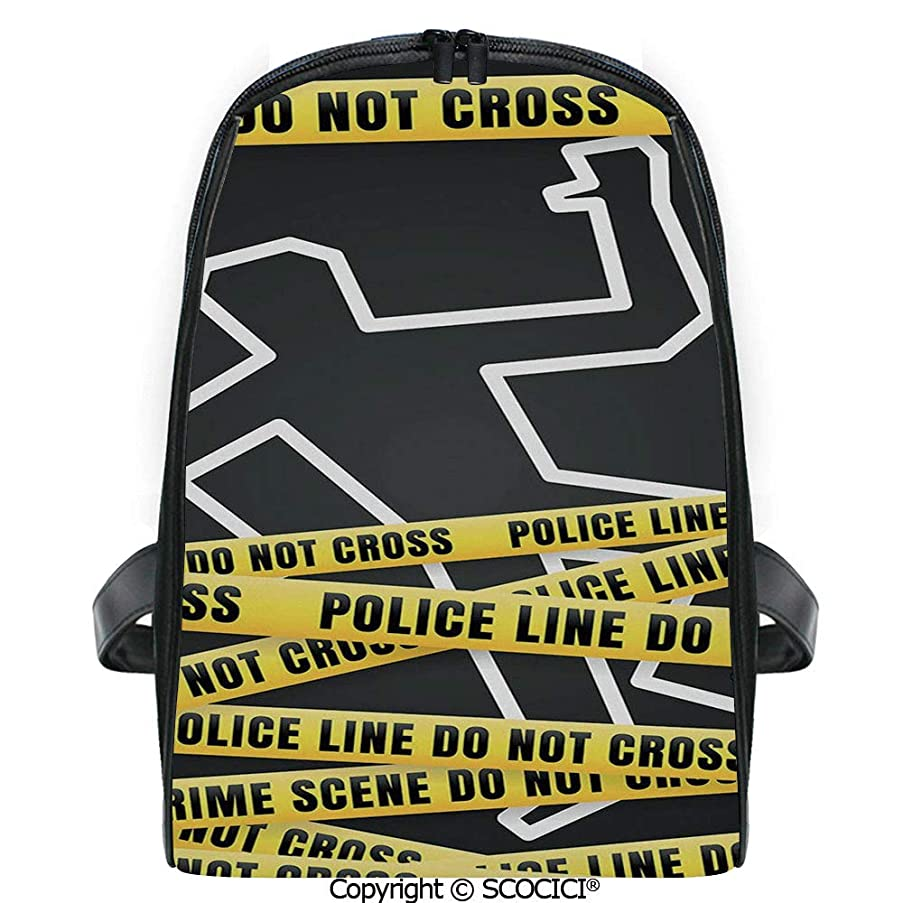 SCOCICI Lightweight Travel Backpack Chalk Outline of Victim and Yellow Bands Death Investigation Detective Decorative Holiday Gift for Girls