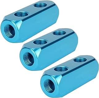"Beduan 1/4"" NPT 2 Way 5 Port Aluminum Air Hose Inline Manifold Block Splitter, Pneumatic Air Compressor Manifold Fitting (Pack of 3)"