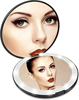 Lighted Travel Makeup Mirror, 1x/10x Magnifying Mirror, Handheld Folding Compact Mirror with LED Lights for Cosmetic, Camp...