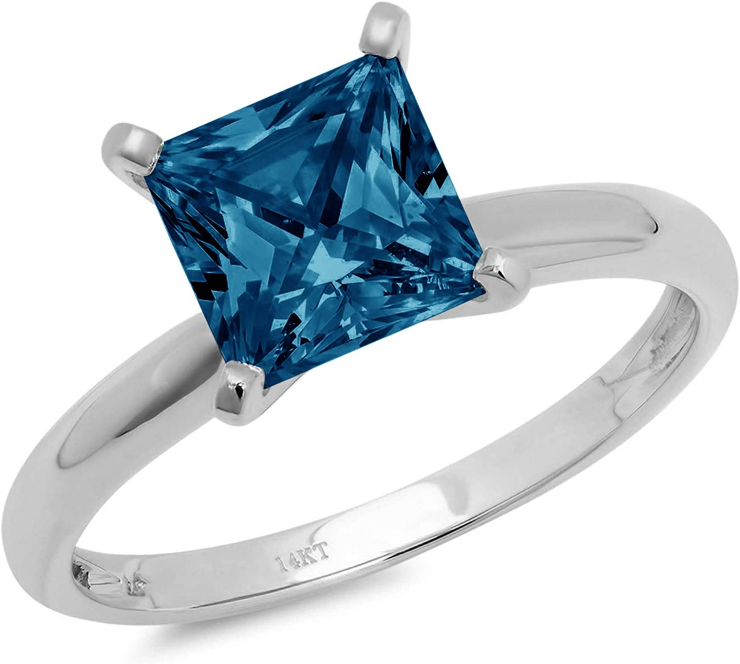 0.95ct Brilliant Princess Cut Solitaire Natural London Blue Ideal VVS1 4-Prong Classic Designer Statement Ring Solid Real 14k White Gold for Women