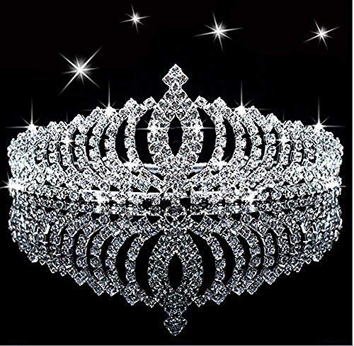 Tiara de princesa con cristales brillantes para niños, con peine, para cumpleaños, con purpurina