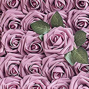 Carreking Artificial Flowers Roses 25pcs Fake Roses DIY Wedding Bouquets Shower Party Home Decorations Arrangements Party Home Decorations (25pcs Retro Lilac Pink)