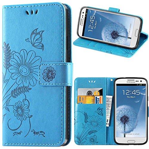 kazineer Galaxy S3 Hülle, Leder Tasche Handyhülle für Samsung Galaxy S3 / S3 Neo Schutzhülle Blume Muster Etui Schale Hülle - Türkis blau