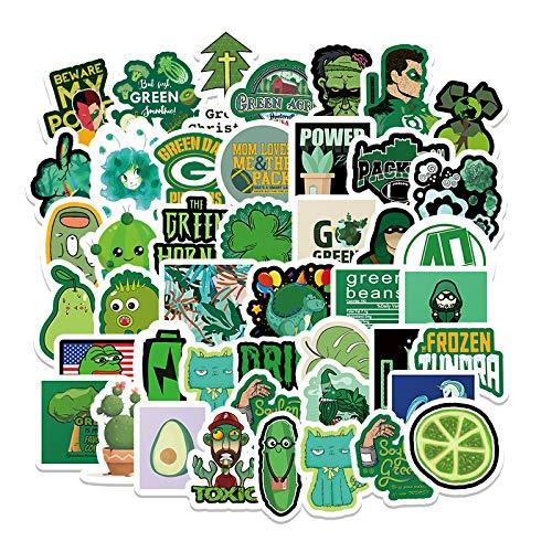 DONGJI Serie Verde no repetitivo Graffiti Maleta Motocicleta Tableta computadora Pegatinas Decorativas de Dibujos Animados 68 Piezas