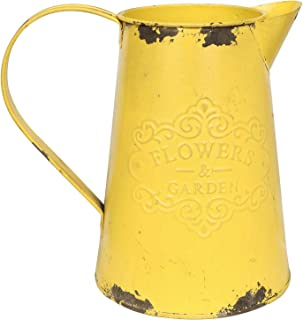 APSOONSELL Yellow Metal Flower Vase Vintage Jug Pitcher Shabby Chic Decor Rustic Farmhouse Kitchen Decor for Home