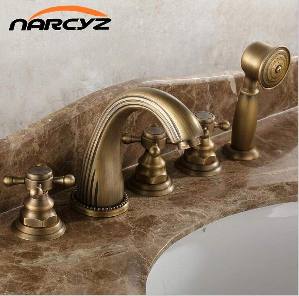 暗唱する共感する周囲CSS-LL キッチンバスタブ 全銅ホット&コールドシャワー蛇口ファイブ - ワンピースヨーロピアン - スタイルブロンズ入浴サイドスプリットファイブ - ワンピースのシャワーの蛇口 温水と冷水の混合