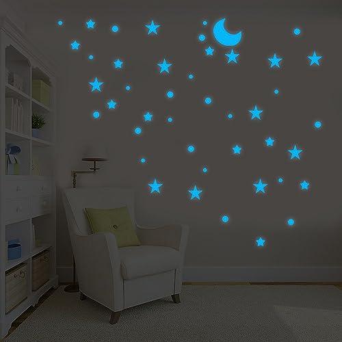 Moon And Huge Set Of Stars New UK Fantastic Kids Room Nursery Wall Stickers