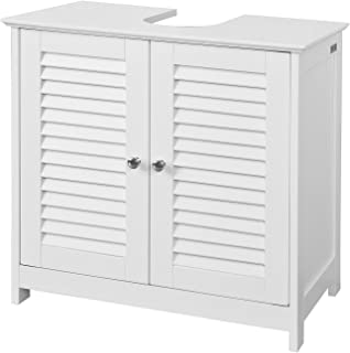 SoBuy Base Cabinet for Sink with 2 Doors, Height 58 cm White FRG237-W