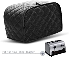 CrazyAnt Four Slice Toaster Cover, Toaster Protectors Polyester Fingerprint Protection Anti-sputtering and Dustproof Machine Washable for Most Toaster (Black+Polyester, FourSlice Toaster Cover)