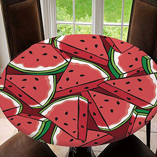AmaUncle Elastic Edged Table Cover, Round Tables Tablecloth Table Cloth, Watermelon Repeat Pattern Waterproof Table Pads Tablecloth Size 70'(Fit for 58.2'-62.1' Table)