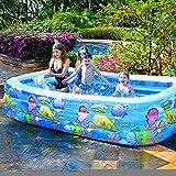 QXXZ Piscina Hinchable Rectangular Piscina Infantil Inflable,Piscina Familiar en Patio Trasero, Fiesta AcuáTica De Verano, Exterior, JardíN, Adultos Niños, Azul262cm