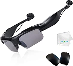 Wireless Bluetooth Sunglasses Glasses Built in Microphone Stereo Bluetooth Headset with Replaced Polarized Lens Compatible with LG G6 G5 G7 HTC Samsung Galaxy Note 5 8 9 S10 S9 S8 S7 S6 Tablets Black