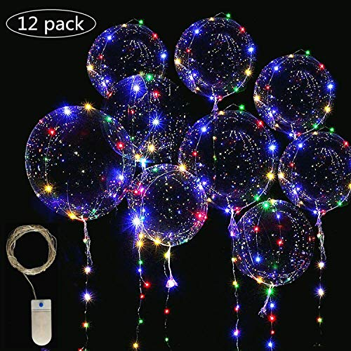 LED Light Up Bobo Balloons Fairy String Lights,Cell Battery Operated LED Fairy String Lights 4 Meters(13ft) 12 Pieces,20 inch Transparent Light Up Bobo Balloons 18 Pcs,for Birthday Party Decoration