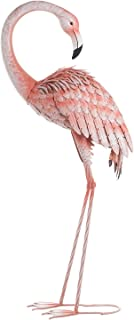 Chisheen Metal Flamingos Yard Decor Outdoor Statue Garden Sculptures and Statues Pink Home Art Pieces Lawn Decorations